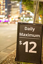 Daily and hourly parking sign in the city Royalty Free Stock Photo