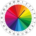 24 hours clock dial with color sectors for each hour for highlighting. Vector Illustration