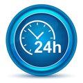 24 hours clock icon eyeball blue round button