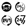 24 hours a day and 7 days a week icon collection, Royalty Free Stock Photo