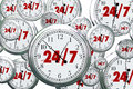 24 7 Hours Day Service Always Open Clocks Time Royalty Free Stock Photo