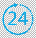 24 hours icon on transparent background.
