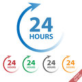 24 hours vector icon set sign