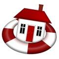 House Afloat on Lifesaver Royalty Free Stock Photo