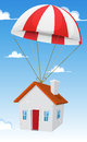 House by airmail shipping delivery illustration of a cartoon small parachute air with cloudscape and blue sky background Royalty Free Stock Image