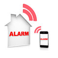 House alarm text and a smartphone Stock Photos