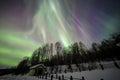 House, Aurora, night sky at alaska, fairbanks Royalty Free Stock Photo