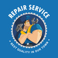 House auto car repair service tool shop store logo design