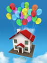 House with balloon. Royalty Free Stock Image