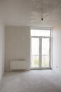 House with big window under construction building repair empty room white wallpaper and Royalty Free Stock Images