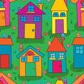 House bird stylish colorful green land seamless pattern
