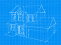House blueprint an illustration of a for an new under construction Royalty Free Stock Photos