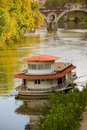 House boat along the Tiber river Stock Photography