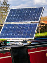 House Boat Solar Panels - Clean Energy Royalty Free Stock Photo