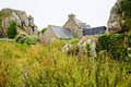 House between boulder in brittany france country breton Royalty Free Stock Images