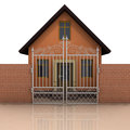 House with brick wall and closed fence on white illustration Royalty Free Stock Images