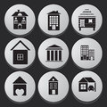 House and building icon set black white collection of various buildings Royalty Free Stock Image