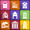 House and building icon set collection of various buildings Royalty Free Stock Photography