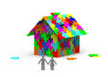 House built out colorful puzzle pieces d render Stock Image