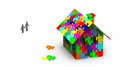 House built out of colorful puzzle pieces d render Royalty Free Stock Image