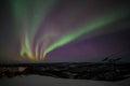 House, cabin, Aurora, night at alaska, fairbanks Royalty Free Stock Photo