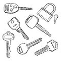House and car keys doodle Royalty Free Stock Photo
