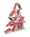 House of cards tower 3D collapsing Royalty Free Stock Photo