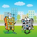 House cartoon character illustration two talk about renovation Stock Photos