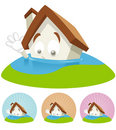 House Cartoon Mascot - Flooding Stock Images