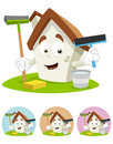 House Cartoon Mascot - holding cleaning tools Royalty Free Stock Image