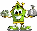 House cartoon mascot logo holding cash, house cartoon character with the cash money. Royalty Free Stock Photo