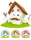 House Cartoon Mascot - mechanic Royalty Free Stock Image