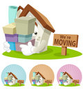 House Cartoon Mascot - Moving house Royalty Free Stock Photo