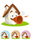 House Cartoon Mascot - speaking with megaphone Stock Images