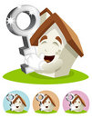 House Cartoon Mascot - victorous key Royalty Free Stock Photos