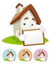 House Cartoon Mascot - white board Royalty Free Stock Image