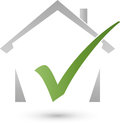 House and checkmark, real estate and real estate check Logo