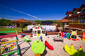 House with children x s play area modern architect designed large colorful seesaw doll variety of toys and plastic Royalty Free Stock Photography