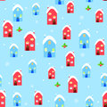 House christmas seamless pattern