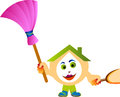 House clean cartoon character illustration with cleaning tools ready to the Royalty Free Stock Image