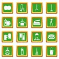 House cleaning icons set green