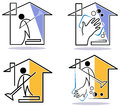House cleaning logo set