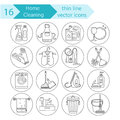 House cleaning thin line vector icon set.