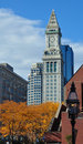 House clock-towe, downtown Boston in autumn Royalty Free Stock Photos
