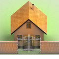 House with closed iron fence in brick wall illustration Stock Photography