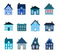 House collection set colourful home icon cold colors illustration group private residential architecture Stock Photos