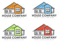 House company signs illustrated set of four business or logos with copy space white background Royalty Free Stock Photography