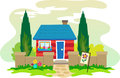 House cute illustration of red and blue with a beautiful surroundings eps Royalty Free Stock Image