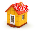 House and debt clipping path included image with Stock Photo