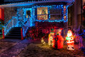 House Decorated with Christmas Lights Stock Image